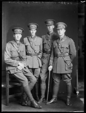 Group of young World War I soldiers in uniform, including Lieutenant E H Garland