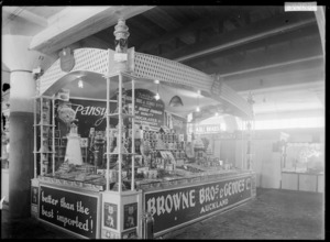 Stall at a trade fair advertising and displaying the produce of Browne Brothers & Geddes, wholesale manufacturing confectioners