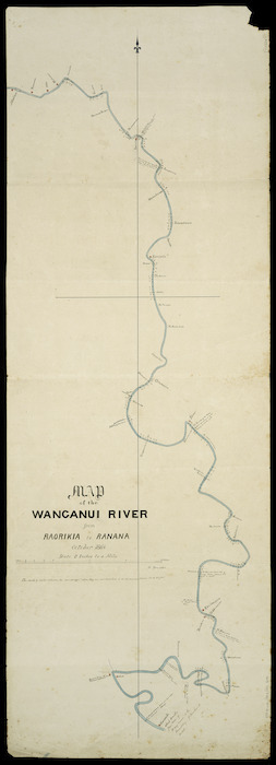 Brewer, William, fl. 1864 :Map of the Wanganui River from Raorikia to Ranana [ms map] / W. Brewer