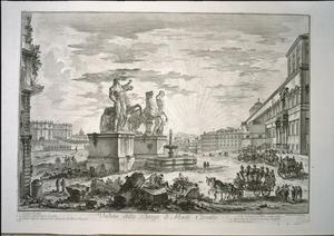 Piranesi, Giovanni Battista, 1720-1778 :Veduta della Piazza di Monte Cavallo. Piranesi del et sculp. [1750]