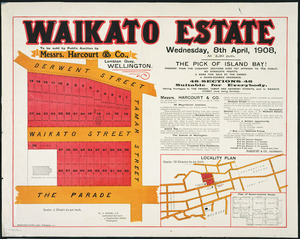 Waikato Estate [cartographic material] : to be sold by public auction by Messrs. Harcourt & Co., Lambton Quay, Wellington, Wednesday, 8th April, 1908.