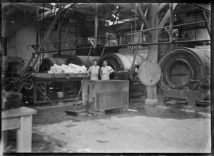Inside a butter factory at Waitoa, near Te Aroha, 1921