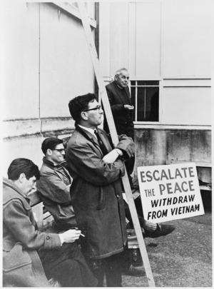 Reverend Ormond Edward Burton speaking at a demonstration against the war in Vietnam