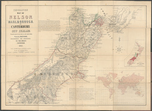 Emigration map of Nelson, Marlborough, and Canterbury, New Zealand, from the most recent surveys and exploration [cartographic material].