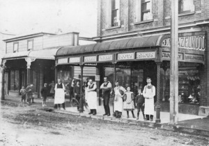 Group outside J A Hazelwood's general store, Upper Hutt