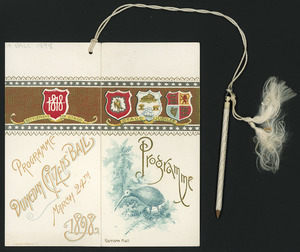 Dunedin Citizens' Ball, March 24th 1898. Garrison Hall. Programme [cover. Printed by] J Wilkie & Co., Dunedin.