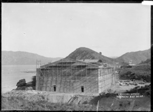 Tokomaru Sheepfarmers' Freezing Company Ltd works under construction at Waima, Tokomaru Bay, East Coast