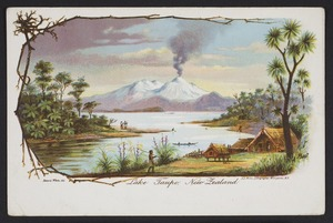 White, Benoni William Lytton, 1858-1950 :Lake Taupo, New Zealand. Benoni White, del. New Zealand Post Card (carte postale) issued by the New Zealand Government Department of Tourist & Health Resorts. W R Bock, sc. A D Willis, Lithographer, Wanganui, NZ [1902-1905?]