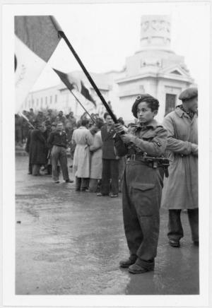 Gino Larice, Partisan flag bearer, Forli, Italy, during World War 2 - Photograph taken by A M Miller