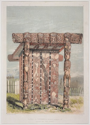 Angas, George French, 1822-1886 :Monument to TeWhero's favorite daughter, at Raroera Pah, near Otawhao. George French Angas [delt]; J. W. Giles [lith]. Plate 10. 1847