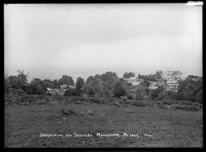Maungakawa, looking down over the Te Waikato Sanatorium and shelters