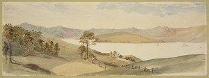 [Hodgkins, William Mathew] 1833-1898 :German Bay. Looking across the harbour, Akaroa [1868 or 1869]