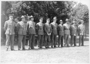 Line up of ten soldiers