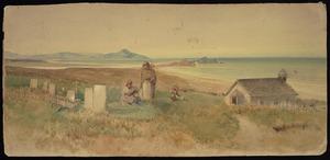 [Hodgkins, Frances Mary] 1869-1947 :[Church at Puketeraki with Karitane in the background. ca 1890?]