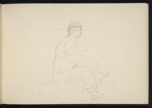 [Hodgkins, William Mathew] 1833-1898 :[Man seated on rocks. 1893 or later]
