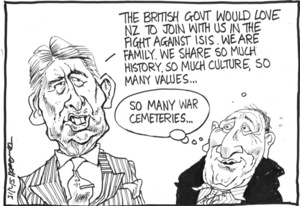 "Scott, Thomas, 1947- :""The British govt would love NZ to join with us in the fight against ISIS"". 5 February 2015"