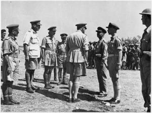 General Bernard Freyberg inspects the 3rd Greek Brigade at Taranto, Italy