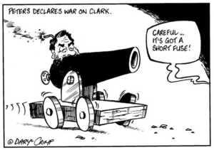 "Peters declares war on Clark. ""Careful... It's got a short fuse!"" ca 2 August, 2002."