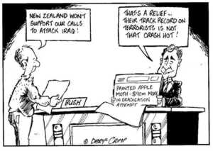 """New Zealand won't support our calls to attack Iraq!"" ""That's a relief... their track record on terrorists is not that crash hot!"" ca 10 September 2002."