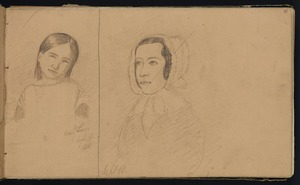 Mantell, Walter Baldock Durrant, 1820-1895 :Mary Ann Lewis; [and] [Sketch of unidentified woman in bonnet] Sept 18. [1848].