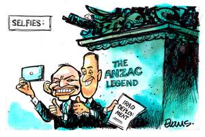 Evans, Malcolm Paul, 1945- :Abbott and Key take Selfies. 20 April 2015