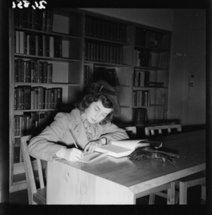 Annette Barber working inside the United States Information Library, Wellington
