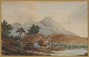 [Halcombe, Edith Stanway (Swainson)] 1844-1903 :Native ... [Maori cooking outside a whare beside a stream] [ca 1860?]