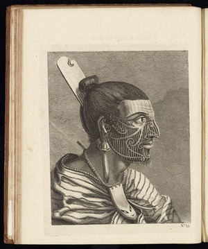 Parkinson, Sydney 1745-1771 :The head of a New Zealander, with a comb in his hair, an ornament of green stone in his ear, and another of a fish's tooth round his neck, / Thornton sculp. [1773].