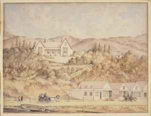 Barraud, Charles Decimus, 1822-1897 :[Hoggard's house with Lambton Quay in the foreground]. 1861