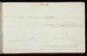 Mantell, Walter Baldock Durrant, 1820-1895 :[Hills around Waitaki] 26 Oct. [1848]