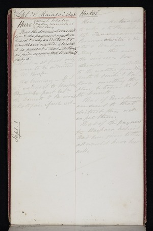Mantell, Walter Baldock Durrant, 1820-1895 :[Maori names itemised with brief descriptions of land situation] Sept 1. [1848]