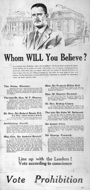Whom will you believe? Line up with the leaders! Vote according to conscience. Vote Prohibition. [1925?]