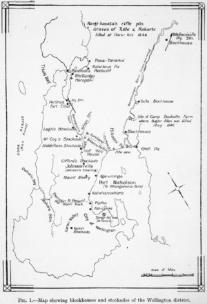 Map showing blockhouses and stockades of the Wellington district