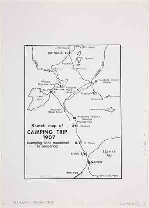 [Creator unknown]: Sketch map of camping trip, 1907 [copy of ms map]. (Camping sites numbered in sequence)