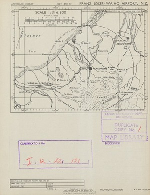 Franz Josef/Waiho Airport, N.Z. / map drawn by Min. of Works, N.Z. ; compiled by Lands and Survey Dept., N.Z.