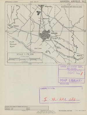 Hawera Airfield, N.Z. / map drawn by Min. of Works, N.Z. : compiled by Lands and Survey Dept., N.Z.
