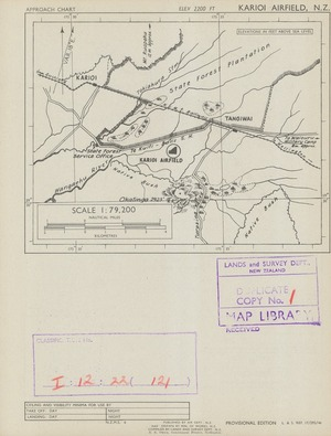 Karioi airfield, N.Z. / map drawn by Min. of Works, N.Z., compiled by Lands and Survey Dept., N.Z.