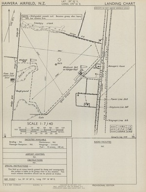 Hawera Airfield, N.Z. / map drawn by Min. of Works N.Z. ; compiled by Lands and Survey, N.Z.