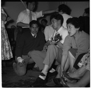 Members of the Ngati Poneke Young Maori Club at a party