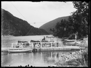 Cobb and Co coach on board a punt on the Buller River