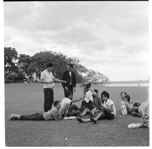 Young people at Point Chevalier, Auckland, and Maori Affairs houses under construction, Northland