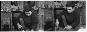 Artist Selwyn Muru in Barry Crump's home, Wellington