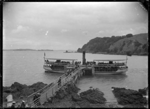 S S Albatross, ferry, at Home Bay, Motutapu Island, taking firemen to their picnic, 1909.