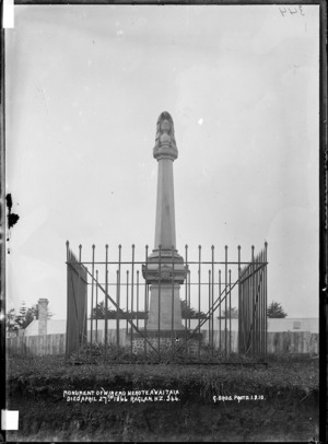 Monument of Wiremu Nera Te Awaitaia, Raglan - Photograph taken by Gilmour Brothers