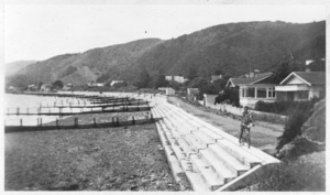 Sea wall under construction at Eastbourne, Lower Hutt