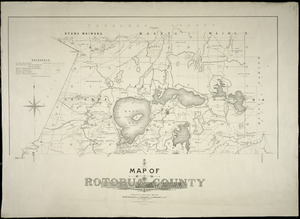 Map of Rotorua County [cartographic material] / W. Deverell, delt. ; Gerhard Mueller, Chief Surveyor, Auckland ; A. Barron, superintending surveyor.