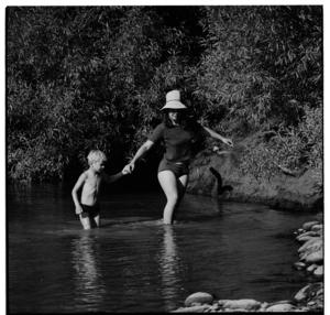 Canoeists by the Whanganui River near Jerusalem, 1970