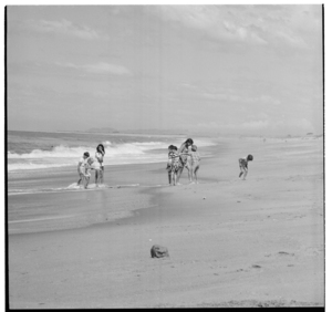 People on the beach at Matata, Bay of Plenty, 1970