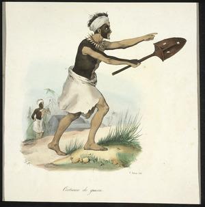 Sainson, Louis Auguste de, b 1801 :Tonga-Tabou. Costumes de guerre. V Adam lith; de Sainson pinx [1833]