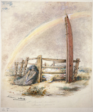 Strutt, William, 1825-1915 :The Maori widow - Rawiri's grave. [1855]